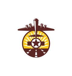 B-17 heavy bomber star runway circle retro vector