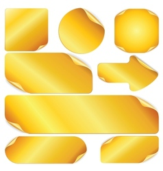 Blank Golden Stickers Notes Labels Set of Design vector image vector image