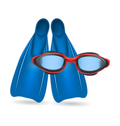 Blue flippers and red swimming glasses vector
