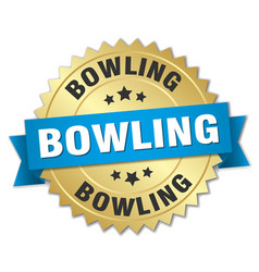 Bowling round isolated gold badge vector