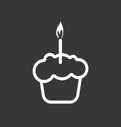 Card with a cream cake with a burning candle over vector image