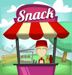cartoon small business snack fast food stand park vector image vector image