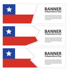Chile flag banners collection independence day vector