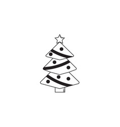 Christmas tree solid icon decorations with star vector