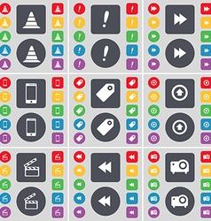 Cone exclamation mark rewind smartphone tag arrow vector