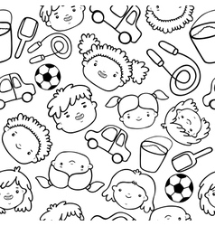 Doodle kids faces pattern vector