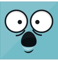 Emoticon with face surprise icon vector