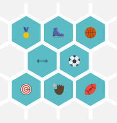 flat icons glove arrow ball and other vector image