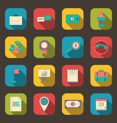 flat icons of business office and marketing items vector image
