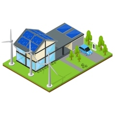 Green Eco House Isometric View vector image vector image