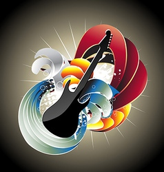 Guitar in abstract background vector image