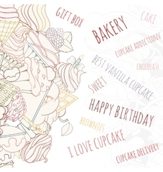 Hand drawn background of doodle style cupcakes vector image vector image