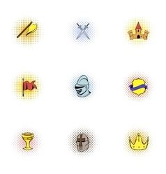 Medieval knight icons set pop-art style vector image vector image