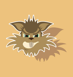 Paper sticker on theme evil animal coyote vector