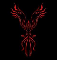 phoenix flame bird silhouette vector image