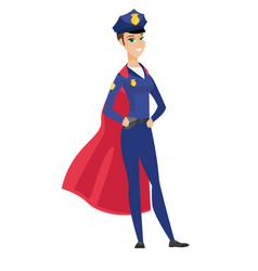 Police woman wearing a red superhero cloak vector