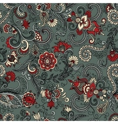 seamless gray and red floral pattern vector image vector image