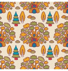 Seamless pattern with oaks vector image