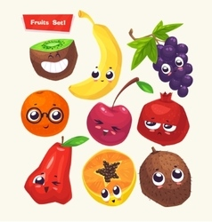 set of fruit characters cute cartoons vector image vector image