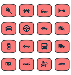 set of simple car icons vector image vector image