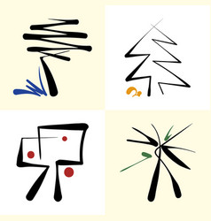 set of stylized icon trees vector image vector image