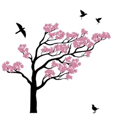 Silhoutte of sakura tree with birds vector