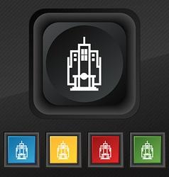 skyscraper icon symbol Set of five colorful vector image