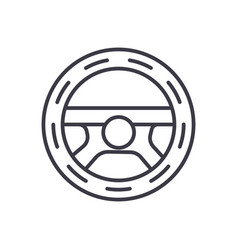 steering wheeldriving line icon sign vector image