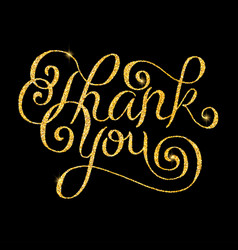 thank you glitter golden hand lettering vector image vector image