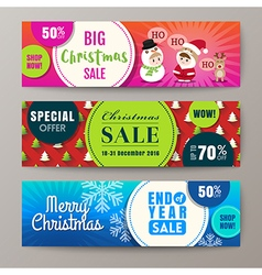 Three colorful christmas sale banners background vector