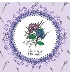 Vintage card with circle spring provence flowers vector