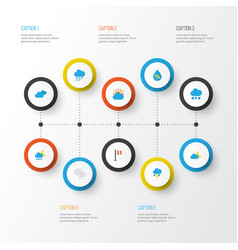 Weather flat icons set collection of shower vector