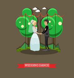 wedding dance in flat style vector image