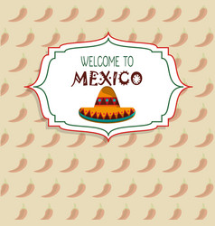 Welcome to mexico concept chili pepper background vector