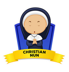 Wordcard with occupation christian nun vector
