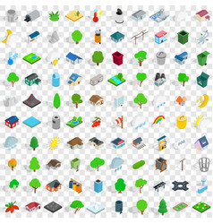 100 parkland icons set isometric 3d style vector