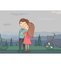 girl kissing boy on the cheek with vector image
