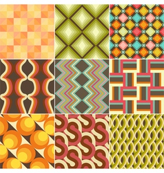 Set of colorful retro seamless pattern vector