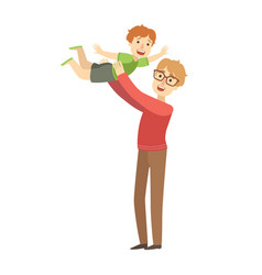 Dad throwing little son in the air vector