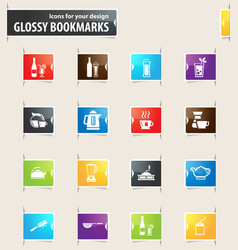 Preparation of beverages bookmark icons vector