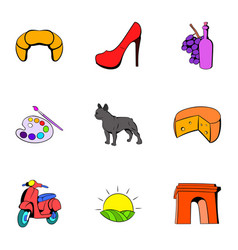 French symbol icons set cartoon style vector