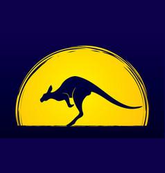 kangaroo jumping shape graphic vector image