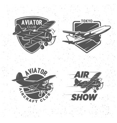 Vintage airplane symbols logotypes aviation vector