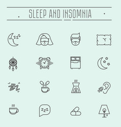 Thin line icons sleep problems and insomnia vector