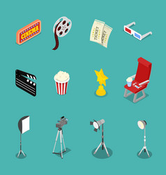 Isometric cinema icons with film reel glasses vector