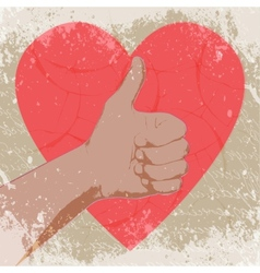 Hand with heart abstract vector image