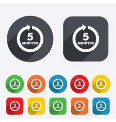 Every 5 minutes sign icon full rotation arrow vector