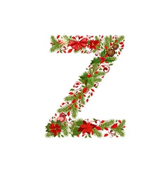 Christmas floral tree letter z vector