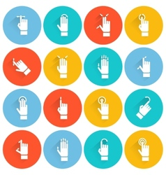 Hand touching screen flat icon vector