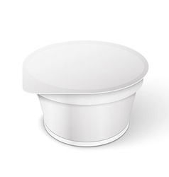 White short and stout tub food plastic container vector